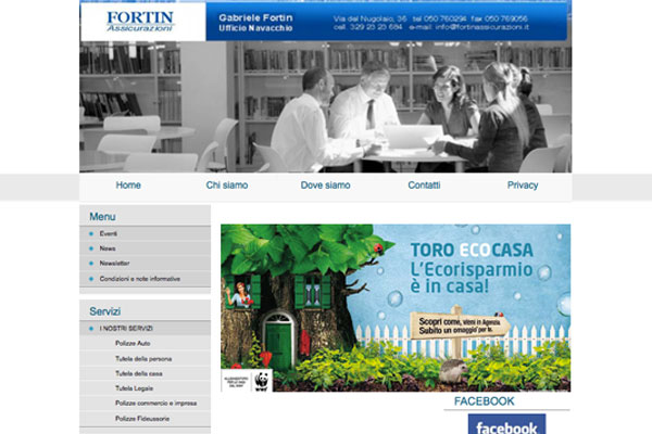 Sito realizzato da ideositiweb per l´agenzia Toro assicurazioni di Navacchio PISA